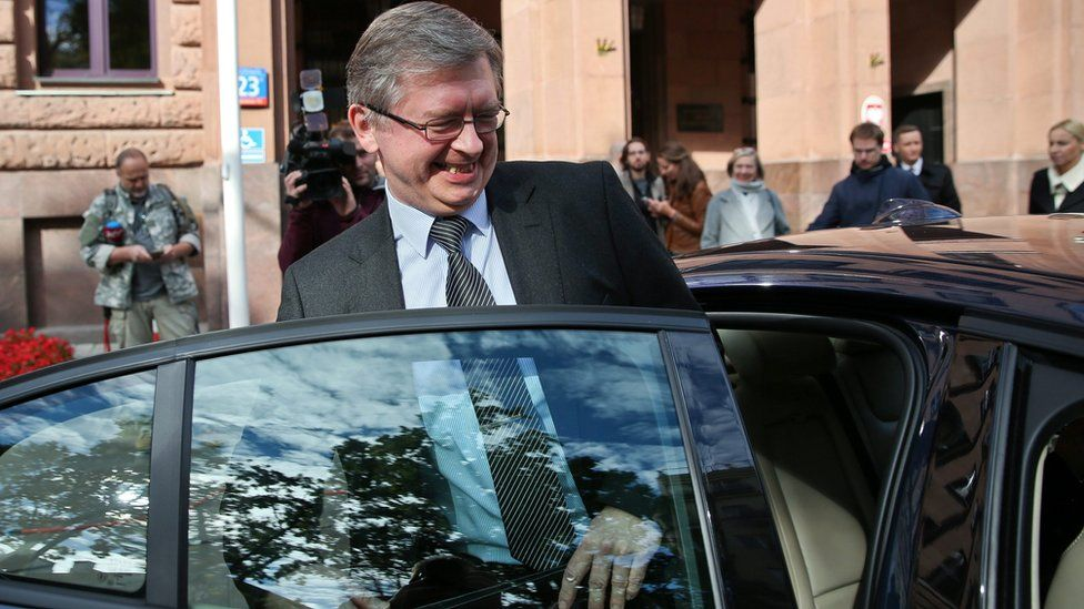 Russian Ambassador to Poland Sergey Andreyev seen leaving the Polish foreign ministry (28 Sept)