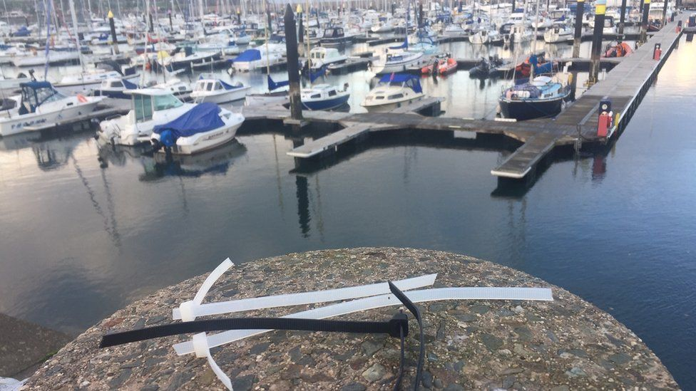 Single use plastics like these cable ties can easily blow into the marina