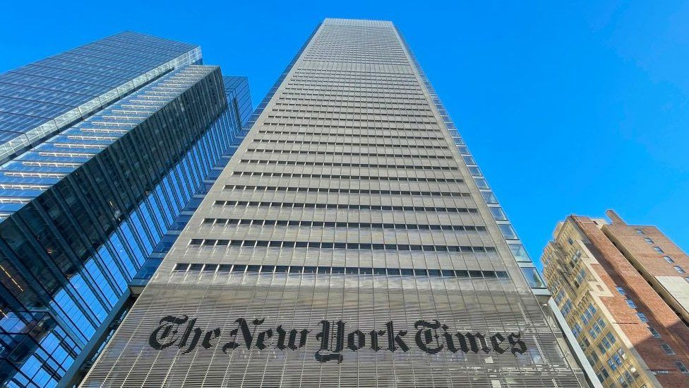 The New York Times Building is seen in New York City on February 4, 2021