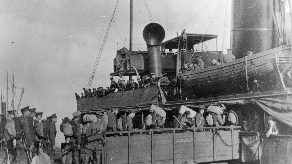 13th Battalion Royal Irish Rifles board a ship bound for the front