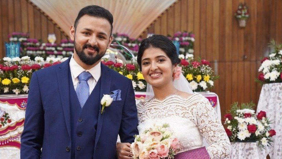 Kiran and Saumiya on wedding day