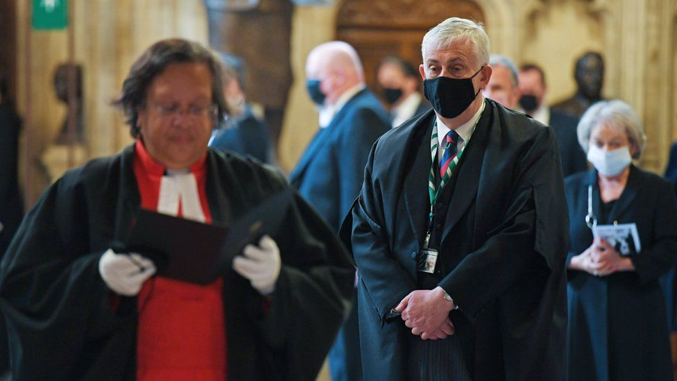 Sir Lindsay Hoyle listened to the commemorations taking place