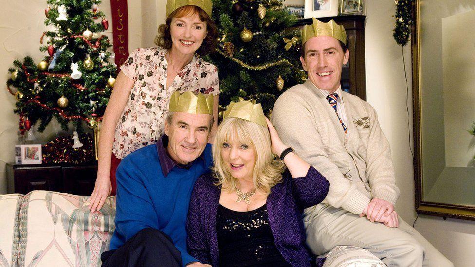 Melanie Walters as Gwen West, Larry Lamb as Mick Shipman, Alison Steadman as Pam Shipman and Rob Brydon as Uncle Bryn