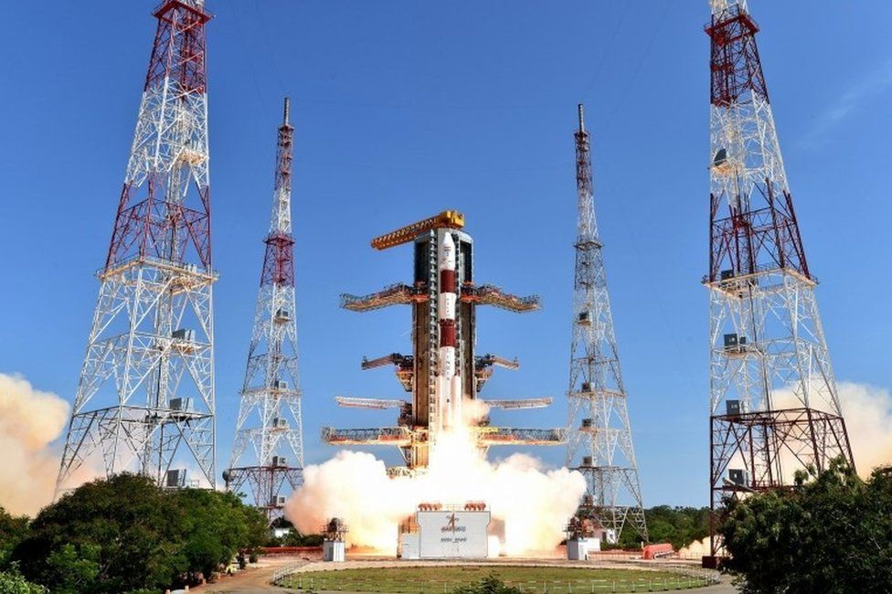 """A handout picture provided by the Indian Space Research Organization (ISRO) shows the fully integrated PSLV-C34, with all its 20 satellites, taking off from the launch pad at Sriharikota""""s Satish Dhawan Space Centre in Andhra Pradesh, India, 22 June 2016"""