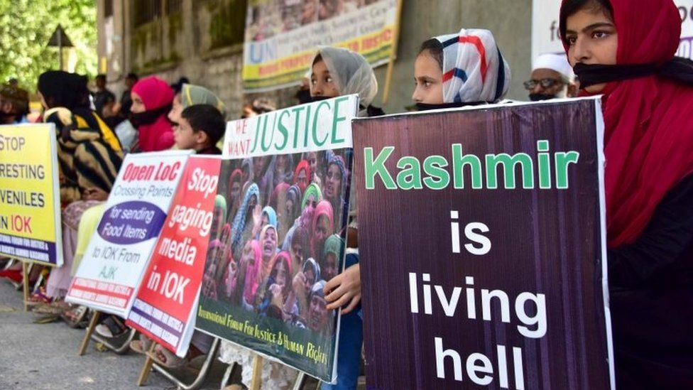 Kashmiri refugees in Pakistan-administered Kashmir take part in an anti-Indian protest