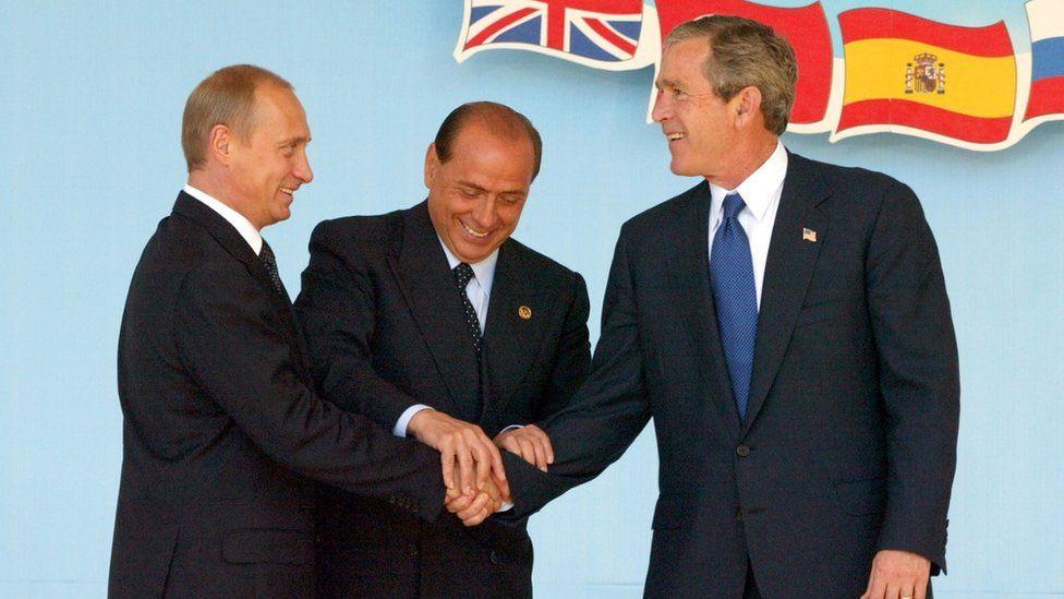 Vladimir Putin, Silvio Berlusconi and George W. Bush at a Russia-Nato summit in 2002