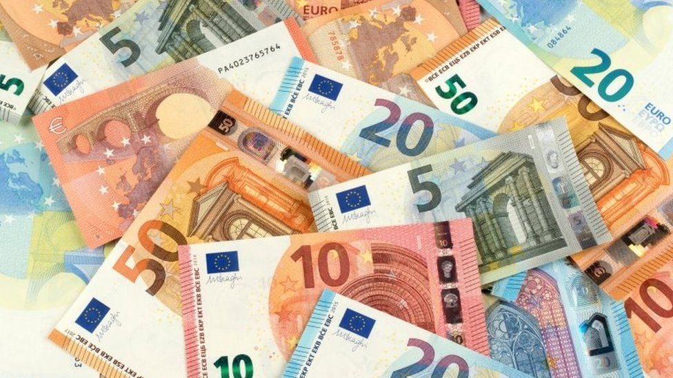 View of Euro banknotes