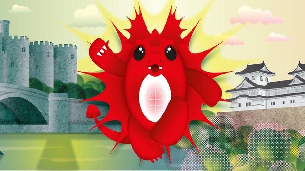 Dyluniad yn dangos Ena Mai, mascot Cwpan Rygbi'r Byd. yn croesawu gefeillio cestyll Conwy a Himeji