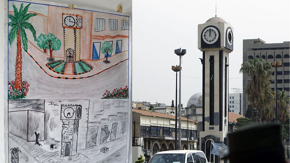 A drawing of a Syrian refugee boy seems to show a comparison before and after a square in the Syrian city of Homs.