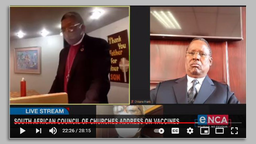 A screenshot of a broadcast by the South African Council of Churches