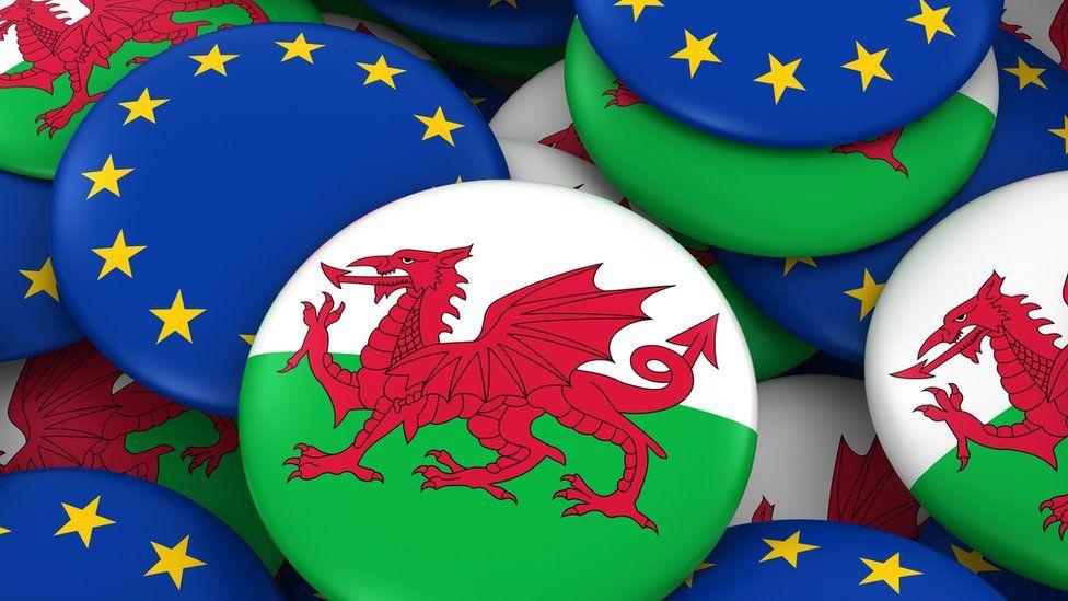 Wales and EU badges