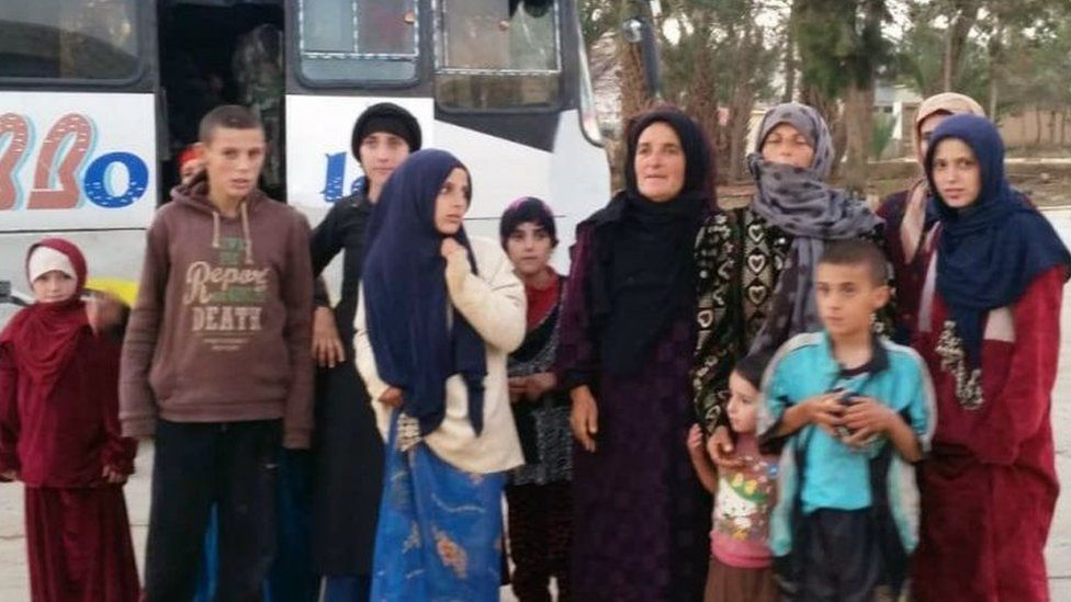 A picture released by the state-run Syrian Arab News Agency on 8 November 2018 allegedly shows a group of rescued women and children