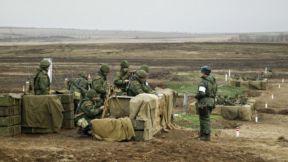 Pro-Russian rebels take part in their military exercises about 30 km from Lugansk, Ukraine