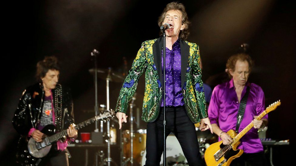 Mick Jagger, Keith Richards and Ronnie Wood of The Rolling Stones perform in California, US, 22 August 2019