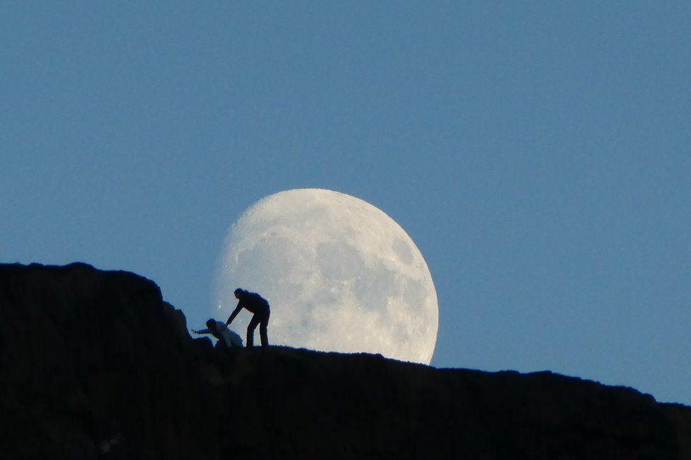 Moon over Salisbury Crags