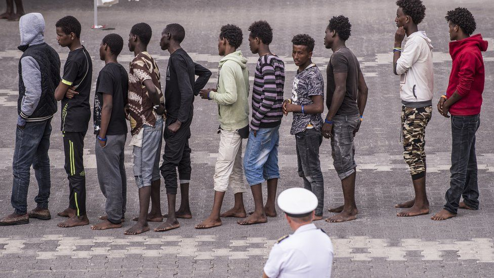 Migrants brought ashore in Catania, Italy, 13 Jun 18