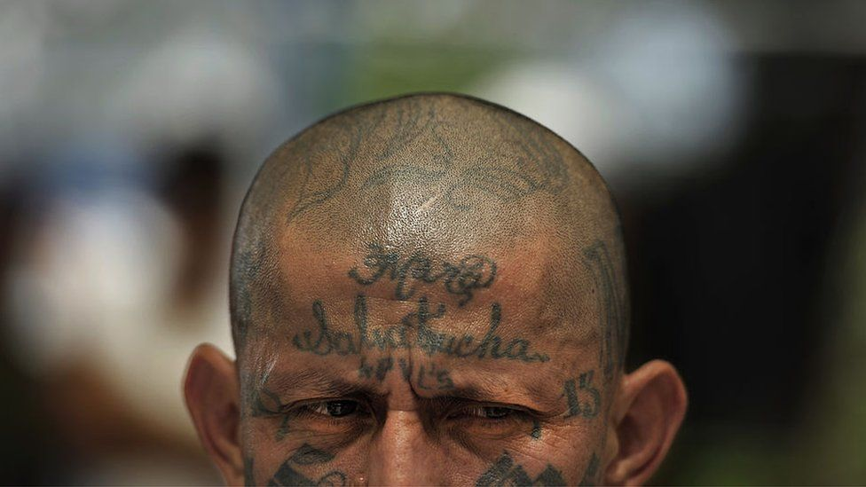 Face and chest tattoos identify members of Mara Salvatrucha