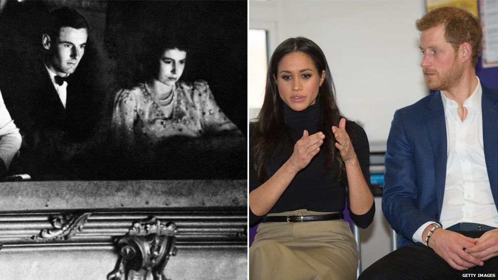 (L) Captain Pete Townsend at the theatre with Princess Margaret; (R) Meghan Markle and Prince Harry