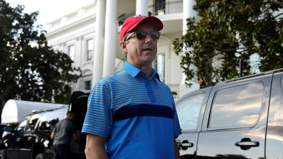 Sen. Rand Paul (R-KY) chats with the press as he returns to the White House after a round of golf with President Donald Trump, in Washington, U.S., October 15, 2017