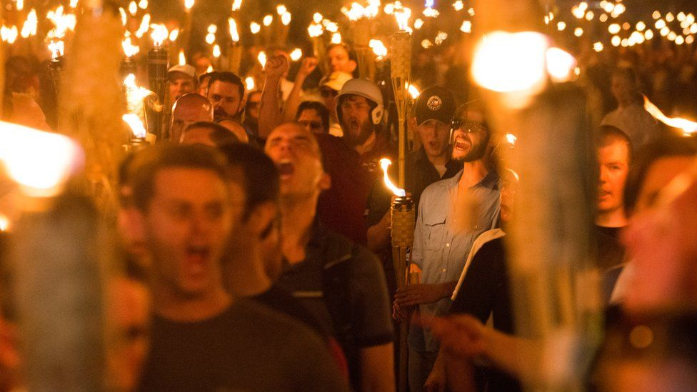 White Supremacists take part in a Unite the Right rally in Charlottesville, Virginia, on 11 August 2017