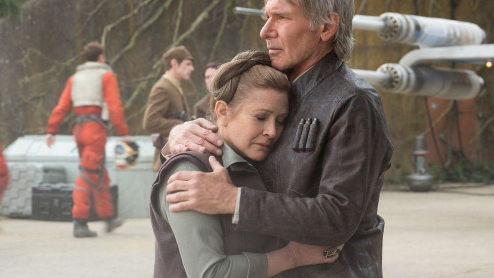 Princess Leia (Carrie Fisher) is promoted to a military general in the new film