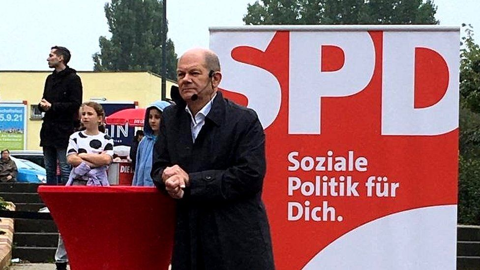 On the eve of the vote, Olaf Scholz spoke to voters in Potsdam outside Berlin