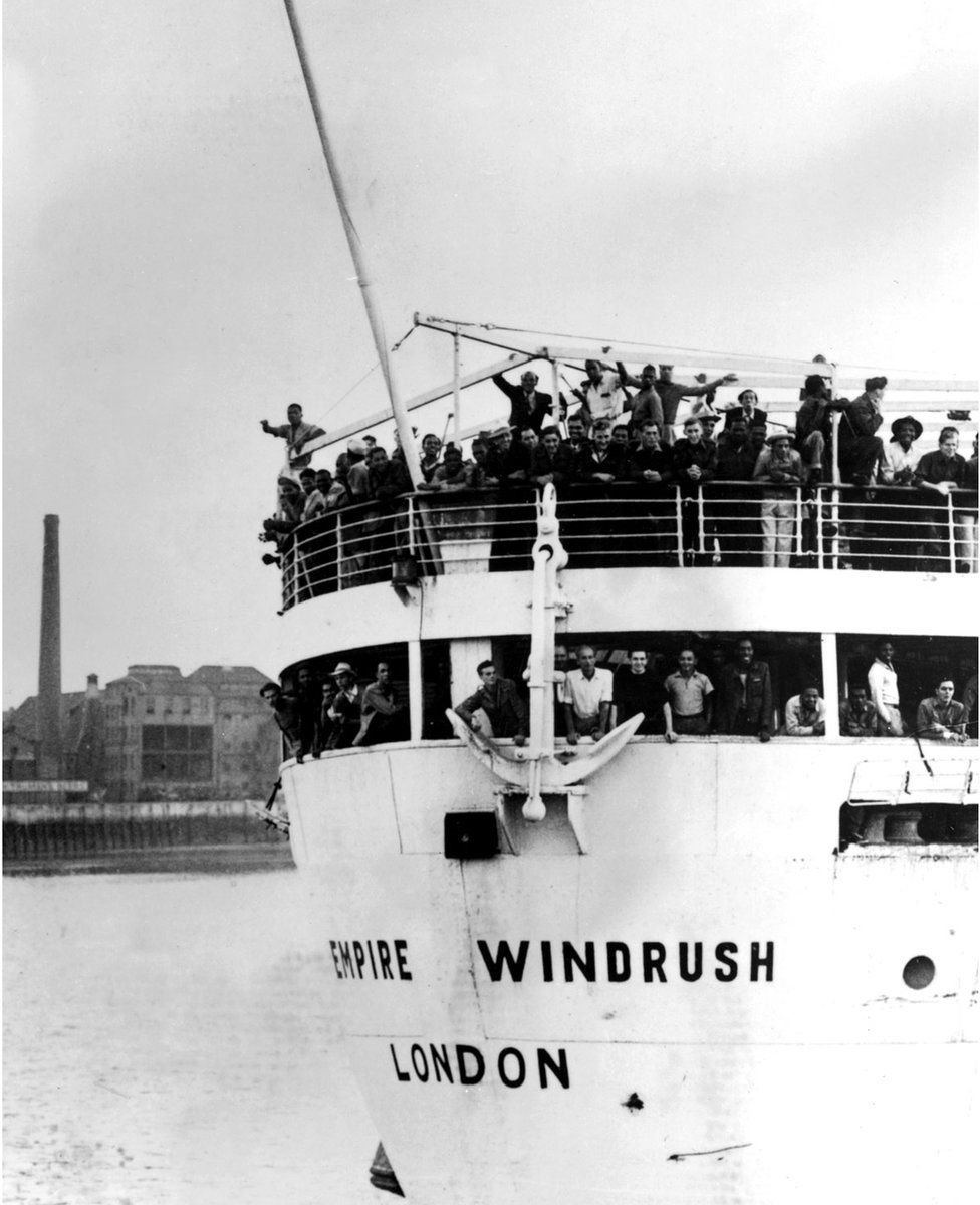 The ex-troopship 'Empire Windrush' arrives at Tilbury Docks, Essex, from Jamaica, with 482 Jamaicans on board, emigrating to Britain.