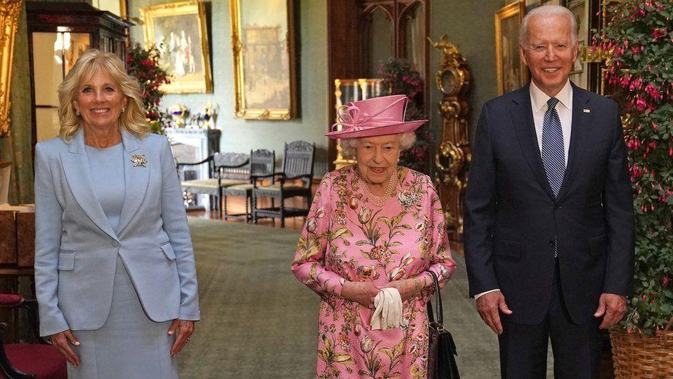 Queen Elizabeth II (centre) with US President Joe Biden and First Lady Jill Biden at Windsor Castle in June