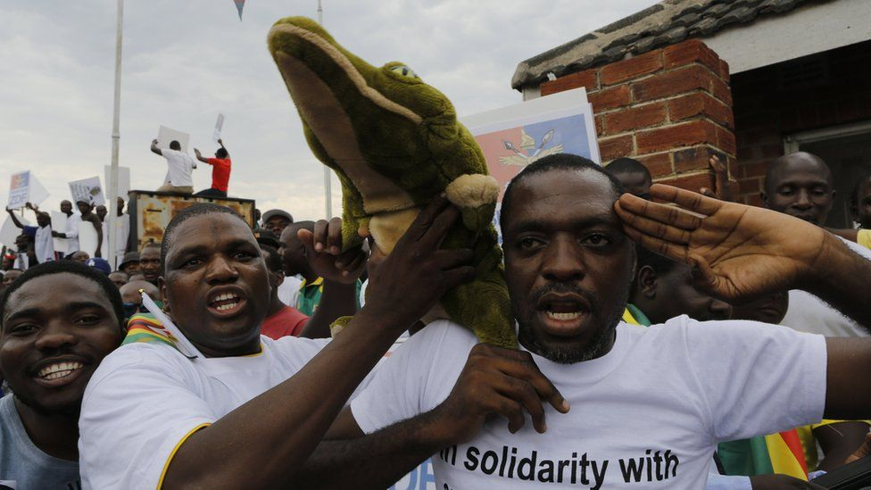 Zanu-PF supporters with a toy crocodile at an air force base in Harare, Zimbabwe, 22 November 2017