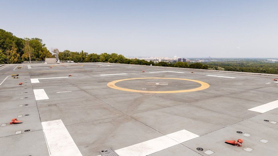 Helipad on the top of the Parkovy exhibition centre in Kiev.