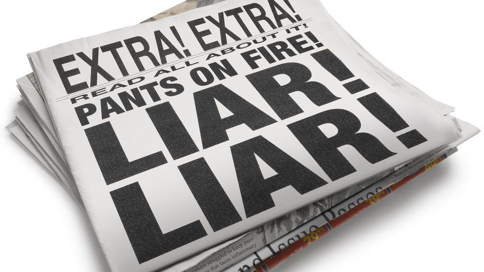 """Newspaper mock up: """"Liar! Liar!"""""""