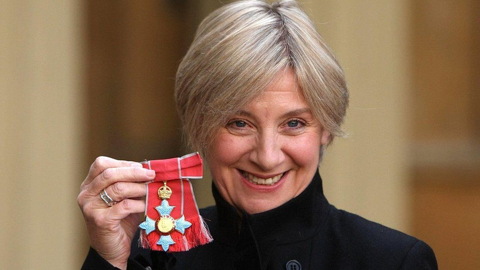 Victoria Wood with CBE medal