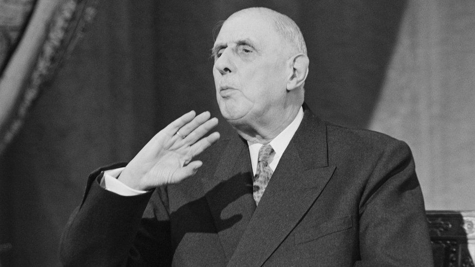 French President Charles de Gaulle speaking in Paris about UK bid to join Common Market, 28 November 1967