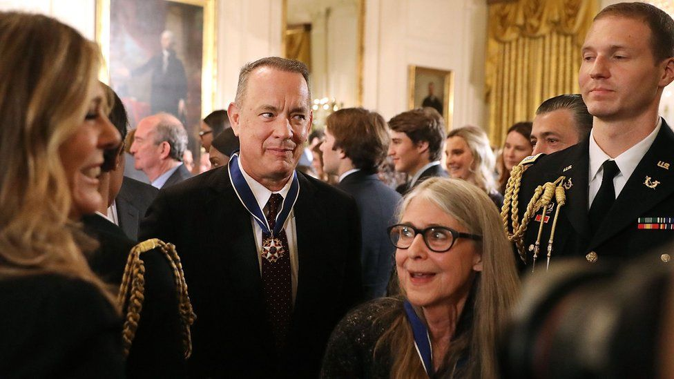 Margaret Hamilton at the White House ceremony with a fellow medal recipient, actor Tom Hanks