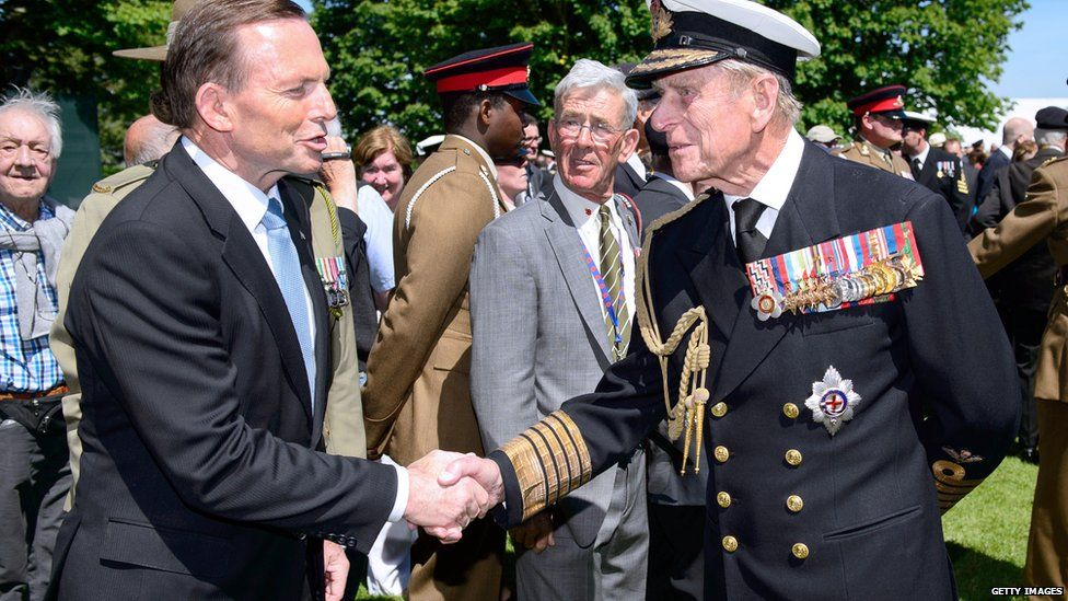 Australian Prime Minister Tony Abbott and Prince Philip, Duke of Edinburgh