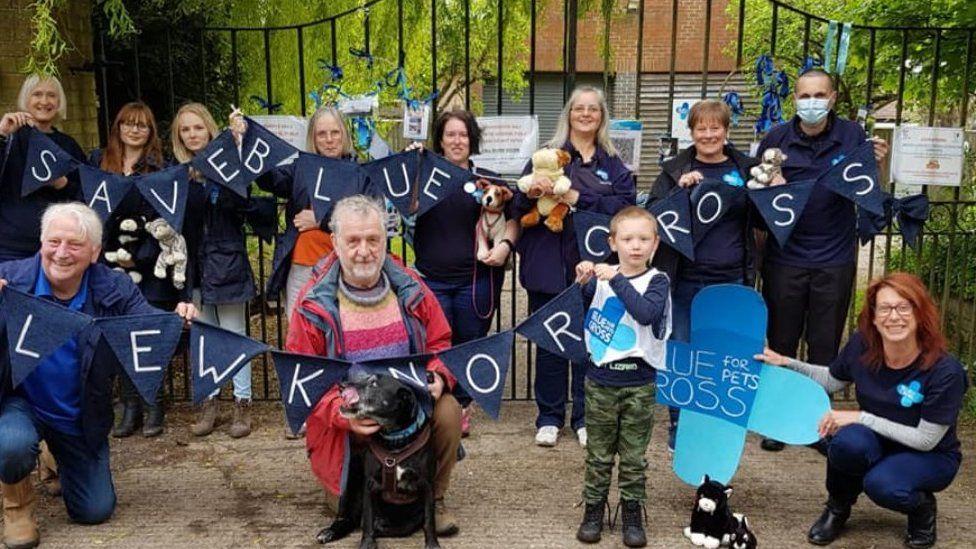 Blue cross campaigners