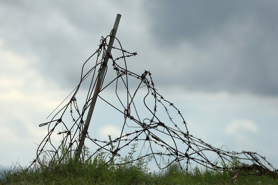 Barbed wire on the WWI Battle Field of Verdun, France