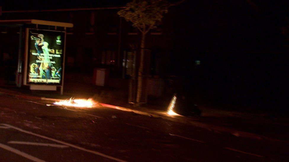 A bin was also set on fire in North Queen St