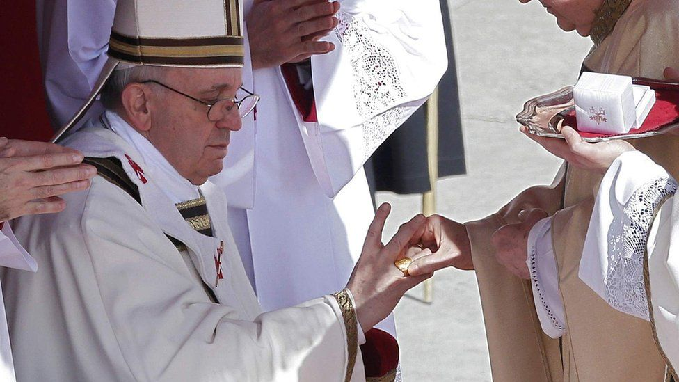 Pope Francis receives his golden ring of office