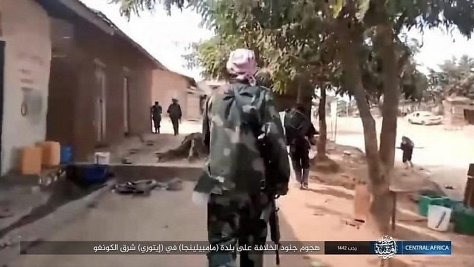 IS video of militants in the aftermath of an attack on a village in Ituri province
