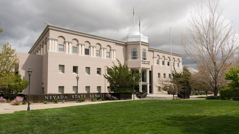Entrance to the State Legislature of Nevada in Carson City