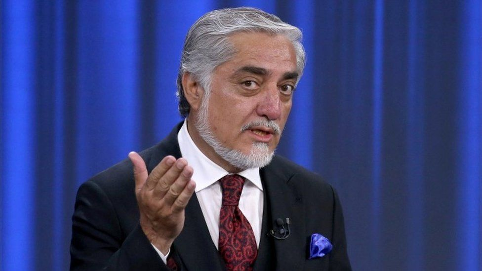 Afghan presidential candidate Abdullah Abdullah speaks during the presidential election debate at TOLO TV channel studio in Kabul, Afghanistan