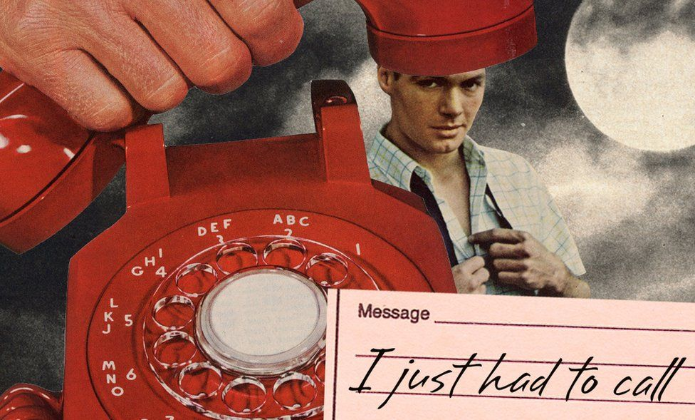 """Illustration showing a man and a telephone, with the message, """"I just had to call"""""""