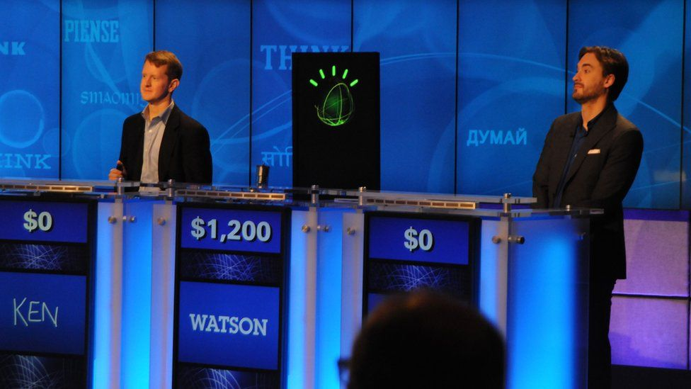A practice Jeopardy game between IBM's Watson and the two human champion contestants Ken Jennings and Brad Rutter