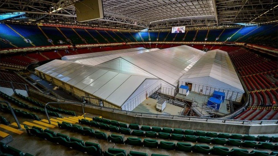 The pitch inside the Principality Stadium in Cardiff makes way for a 1,500-bed field hospital