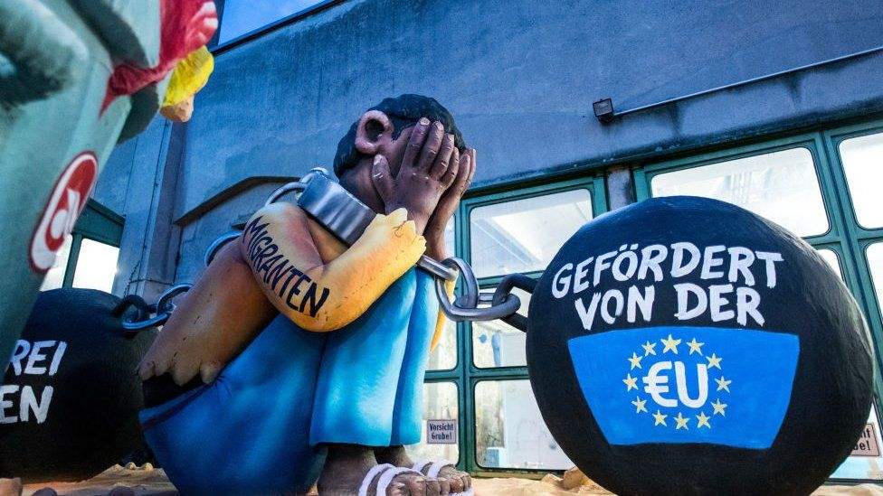 A float in Germany depicting the EU migrant crisis February 2018