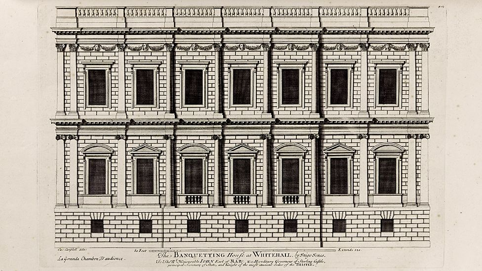 Banqueting House, London (from Vitruvius Britannicus, or The British Architect) - by Colen Campbell, 1715