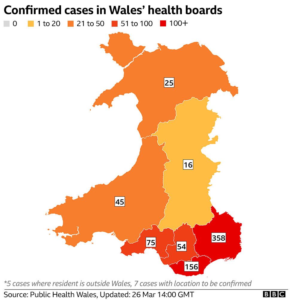 A map showing the number of cases in Wales' different areas