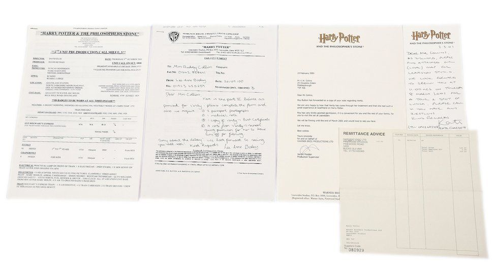 Harry Potter documents auctioned alongside the autographed book