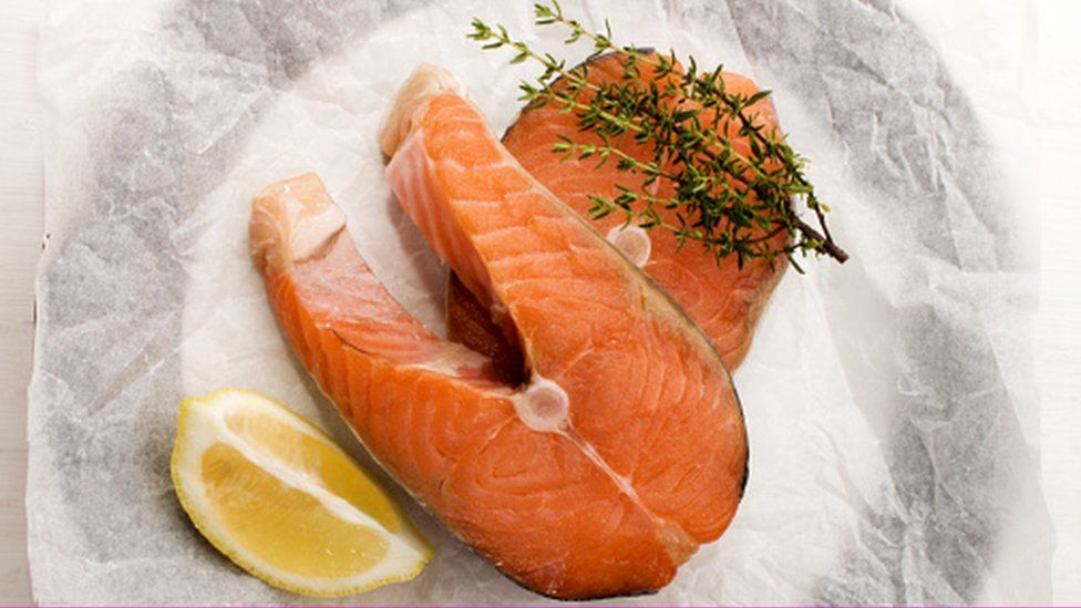 scottish salmon steak with lemon and thyme